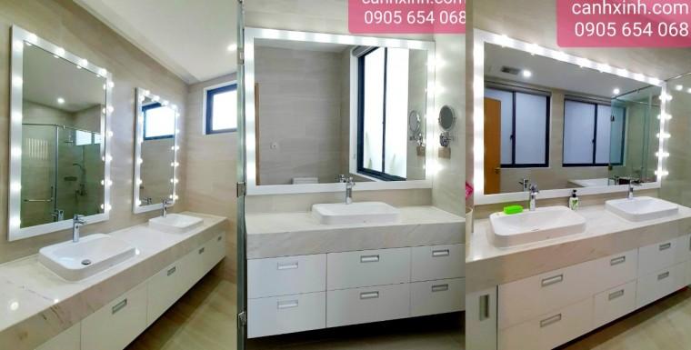 Thi công lắp đặt gương nịnh đèn led phòng tắm cho Apartment Đà Nẵng